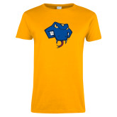 Ladies Gold T Shirt-Rattler Head