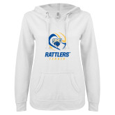 ENZA Ladies White V Notch Raw Edge Fleece Hoodie-Rattlers Tennis Abstract Ball