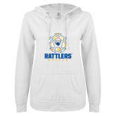 ENZA Ladies White V Notch Raw Edge Fleece Hoodie-Rattlers Soccer Geometric Ball