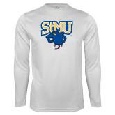 Performance White Longsleeve Shirt-StMU with Rattler
