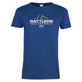 Ladies Royal T Shirt-Rattlers Volleyball Half Ball