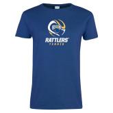 Ladies Royal T Shirt-Rattlers Tennis Abstract Ball