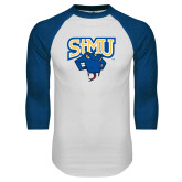 White/Royal Raglan Baseball T Shirt-StMU with Rattler
