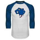White/Royal Raglan Baseball T Shirt-Rattler Head