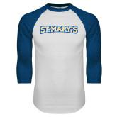 White/Royal Raglan Baseball T Shirt-St. Marys Word Mark