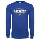 Royal Long Sleeve T Shirt-Rattlers Baseball Half Ball
