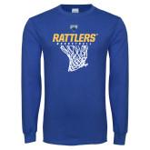 Royal Long Sleeve T Shirt-Rattlers Basketball Hanging Net