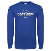 Royal Long Sleeve T Shirt-Rattlers Volleyball Half Ball
