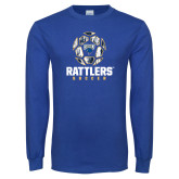 Royal Long Sleeve T Shirt-Rattlers Soccer Geometric Ball
