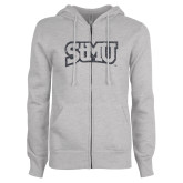ENZA Ladies Grey Fleece Full Zip Hoodie-Arched StMU Graphite Glitter