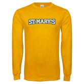 Gold Long Sleeve T Shirt-St. Marys Word Mark