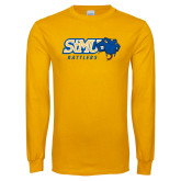 Gold Long Sleeve T Shirt-Slanted STMU Rattlers with Rattler