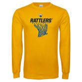 Gold Long Sleeve T Shirt-Rattlers Basketball Hanging Net
