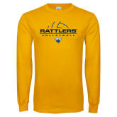 Gold Long Sleeve T Shirt-Rattlers Volleyball Half Ball