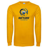 Gold Long Sleeve T Shirt-Rattlers Tennis Abstract Ball