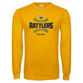 Gold Long Sleeve T Shirt-Rattlers Softball Seams