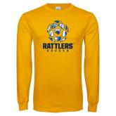 Gold Long Sleeve T Shirt-Rattlers Soccer Geometric Ball