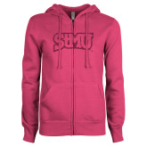 ENZA Ladies Fuchsia Fleece Full Zip Hoodie-Arched StMU Hot Pink Glitter