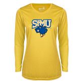 Ladies Syntrel Performance Gold Longsleeve Shirt-StMU with Rattler