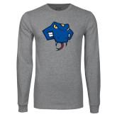 Grey Long Sleeve T Shirt-Rattler Head