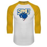 White/Gold Raglan Baseball T Shirt-StMU with Rattler