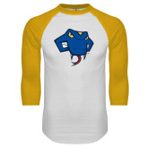 White/Gold Raglan Baseball T Shirt-Rattler Head