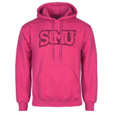 Fuchsia Fleece Hoodie-Arched StMU Hot Pink Glitter