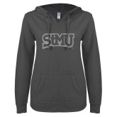 ENZA Ladies Dark Heather V Notch Raw Edge Fleece Hoodie-Arched StMU Silver Soft Glitter