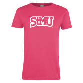 Ladies Fuchsia T Shirt-Arched StMU