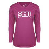 Ladies Syntrel Performance Raspberry Longsleeve Shirt-Arched StMU