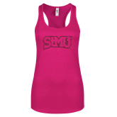 Next Level Ladies Raspberry Ideal Racerback Tank-Arched StMU Hot Pink Glitter