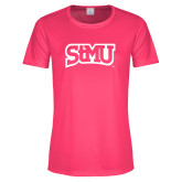 Ladies Performance Hot Pink Tee-Arched StMU