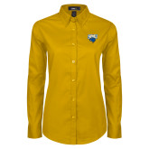 Ladies Gold Twill Button Down Long Sleeve-StMU with Rattler