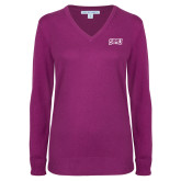 Ladies Deep Berry V Neck Sweater-Arched StMU