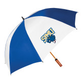 62 Inch Royal/White Vented Umbrella-StMU with Rattler