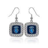 Crystal Studded Square Pendant Silver Dangle Earrings-Peacock