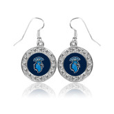 Crystal Studded Round Pendant Silver Dangle Earrings-Peacock