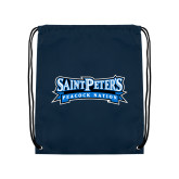 Navy Drawstring Backpack-Saint Peters Peacock Nation Banner