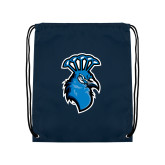 Navy Drawstring Backpack-Peacock