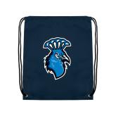 Navy Drawstring Backpack-Peacock