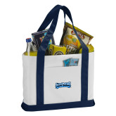 Contender White/Navy Canvas Tote-Saint Peters Peacock Nation Banner