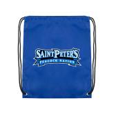 Royal Drawstring Backpack-Saint Peters Peacock Nation Banner