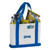 Contender White/Royal Canvas Tote-Saint Peters Peacock Nation Banner