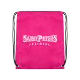 Pink Drawstring Backpack-Saint Peters University