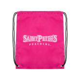 Pink Drawstring Backpack-Saint Peters University