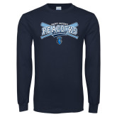 Navy Long Sleeve T Shirt-Peacocks Baseball Crossed Bats