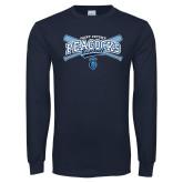 Navy Long Sleeve T Shirt-Peacocks Baseball Crossed Bats