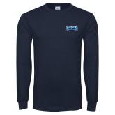 Navy Long Sleeve T Shirt-Saint Peters Peacock Nation Banner