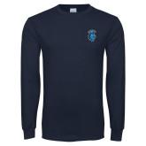 Navy Long Sleeve T Shirt-Peacock