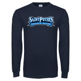 Navy Long Sleeve T Shirt-Saint Peters Peacock Nation Banner